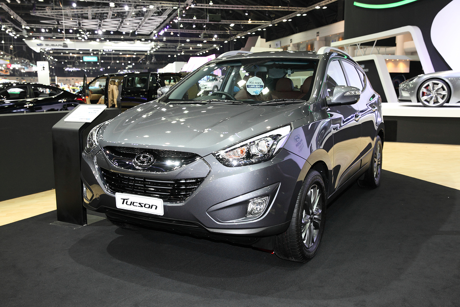 BANGKOK - November 28: Hyundai Tucson car on display at The Motor Expo 2014 on November 28 2014 in Bangkok Thailand.