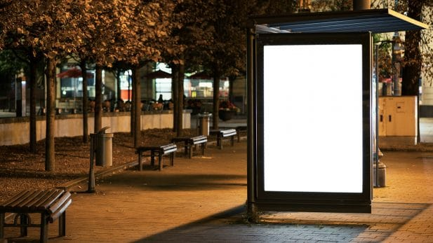 urban advertising campaign bus stop