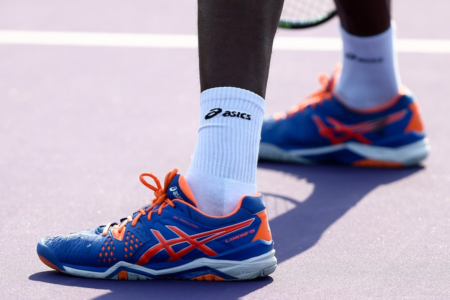 ASICS sports shoes trainers running shoes blue orange
